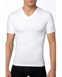 Spanx - Spanx V-neck Cotton Compression T-shirt - Lyst