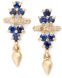 Anna Sheffield - 'emma Bloom Bullet' Sapphire & Champagne Diamond Stud Earrings - Lyst