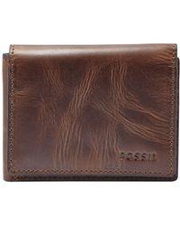 Fossil - 'derrick' Leather Flip Trifold Wallet - - Lyst