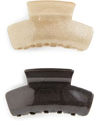 Cara - 2-pack Glitter Jaw Clips, Metallic - Lyst
