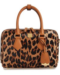 MCM - Small Boston Leopard Calf Hair Bowler Bag - - Lyst