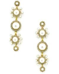 Elizabeth Cole - Gretchen Imitation Pearl Linear Earrings - Lyst