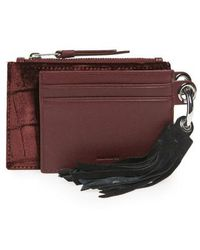 AllSaints - Dive Key Fob Leather & Suede Zip Pouch & Card Case - Burgundy - Lyst