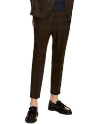 TOPMAN - Check Crop Trousers - Lyst
