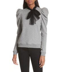 RED Valentino - Bow Neck Puff Sleeve Sweatshirt - Lyst