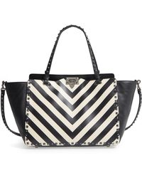 Valentino - Rockstud Chevron Stripe Leather Tote - - Lyst