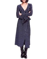 Free People - One More Time Shimmer Midi Wrap Dress - Lyst