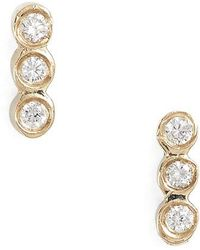 Zoe Chicco | Diamond Bezel Bar Stud Earrings | Lyst
