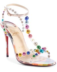 Christian Louboutin - Faridavavie See-through Vinyl/patent Red Sole T-strap Sandals - Lyst