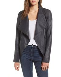 Lamarque - Asymmetrical Zip Front Leather Cascade Jacket - Lyst