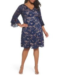 Adrianna Papell - Ruffle Sleeve Lace Dress - Lyst