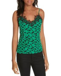 Tanya Taylor - Gia Silhouette Spots Lace Detail Silk Camisole - Lyst