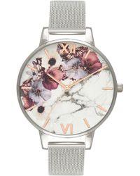Olivia Burton - Marble Floral Mesh Strap Watch - Lyst