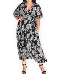 City Chic - Rosa Faux Wrap Dress - Lyst