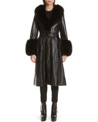 Saks Potts - Foxy Leather Coat With Genuine Fox Fur Trim - Lyst