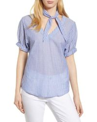 Velvet By Graham & Spencer - Removable Neckerchief Pinstripe Cotton Blouse - Lyst