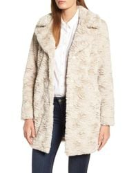 Kenneth Cole - Textured Faux Fur Coat - Lyst