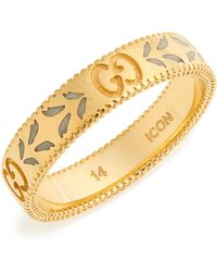 85a3300839c Lyst - Gucci Icon 18k Yellow Gold   Zirconia Thin Band Ring in Metallic