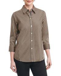 Foxcroft - Fallon Satin Stripe Cotton Shirt - Lyst