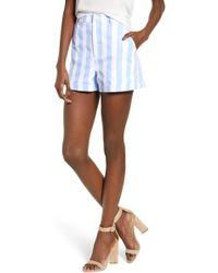 English Factory - Stripe High Waist Shorts - Lyst