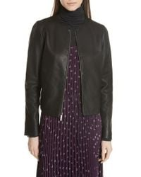 Vince - Collarless Leather Jacket - Lyst