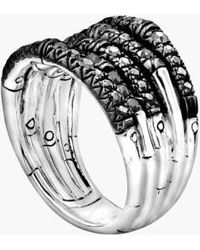 John Hardy   'bamboo - Lava' Wide Pave Sapphire Stack Ring   Lyst