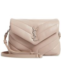 Lyst - Saint Laurent Toy Loulou Quilted Leather Shoulder Bag in Natural b9fc89daad2a2