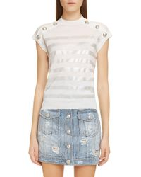 c671d80b Balmain - Shoulder Button Metallic Stripe Wool Top - Lyst
