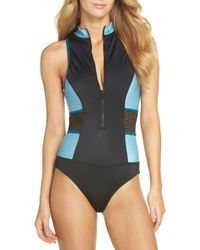 Zella - Element Zip One-piece Swimsuit - Lyst
