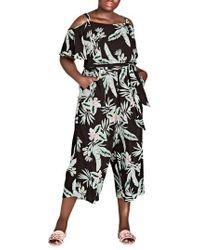 City Chic - Oahu Floral Cold Shoulder Jumpsuit - Lyst