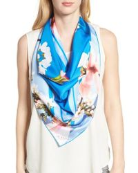 7759b4cb2f840 Lyst - Ted Baker Torchlit Floral Silk Applique Scarf in Green