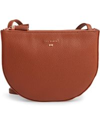 a2e0628b47b Ted Baker - Suzzane Semi Circle Double Zip Leather Crossbody Bag - Lyst