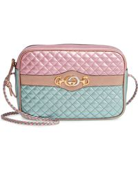 74f9acdfd84 Gucci - Small Quilted Metallic Leather Shoulder Bag - Lyst