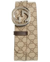 fd84f79976a Lyst - Gucci Brown Gg Plus Canvas Gg Buckle Belt in Brown for Men