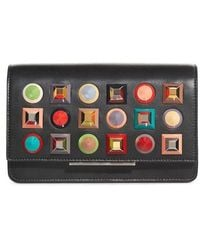 Fendi - Rainbow Studded Leather Tube Wallet On A Chain - Lyst