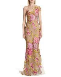 Marchesa - Illusion Multicolor Column Gown - Lyst
