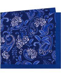 7539b1590d3c Lyst - Ted Baker Leaf Print Silk Pocket Square in Blue for Men