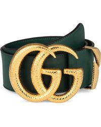 37b93051b486 Gucci Gg Marmont Flower-embroidered Belt in Red - Lyst
