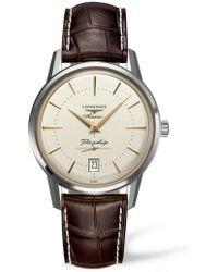 Longines - Flagship Heritage Automatic Leather Strap Watch - Lyst
