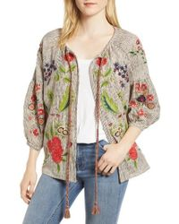 Velvet By Graham & Spencer - Embroidered Stripe Jacket - Lyst