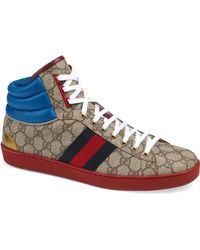 29b255fe6b7 Lyst - Gucci Gg Supreme Canvas High-top Sneaker in Brown for Men