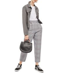 TOPSHOP - Cham Linen Checked Trousers - Lyst