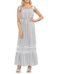 Vince Camuto - Tie Strap Stripe Cotton Maxi Dress - Lyst