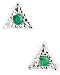 Dana Rebecca | Emily Sarah Sapphire Triangle Stud Earrings | Lyst