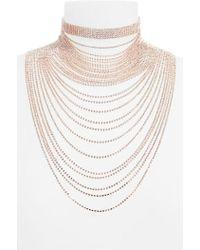 Natasha Couture - Natasha Layered Crystal Choker Necklace - Lyst