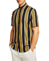 Topman | Stripe Viscose Shirt | Lyst