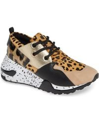 Steve Madden - Cliff Leopard-print Suede And Leather Trainers - Lyst