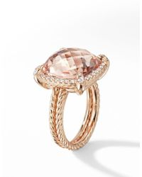 David Yurman - Chatelaine Pavé Bezel Ring In 18k Rose Gold With Morganite - Lyst