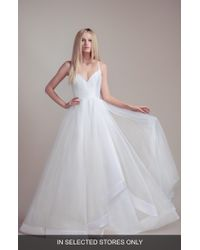 490e7d8f8 BLUSH BY HAYLEY PAIGE Soleil Lace Bodice Off The Shoulder Wedding Dress in  Gray - Lyst