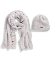 Barbour - Cable Knit Hat & Scarf Set - Lyst